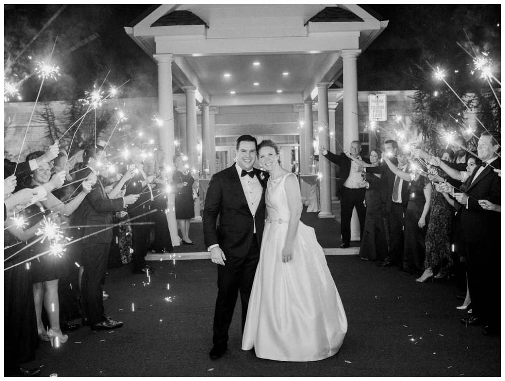 Sparkler exit from a beautiful fall Westwood Country Club wedding in Virginia by fine art Washington DC wedding photographer Lissa Ryan Photography