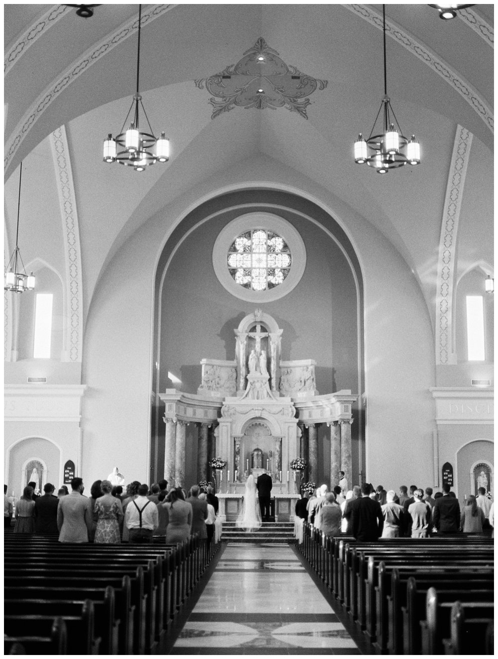 black and white film catholic wedding ceremony summer wedding at Rust Manor by fine art wedding photographer Lissa Ryan Photography