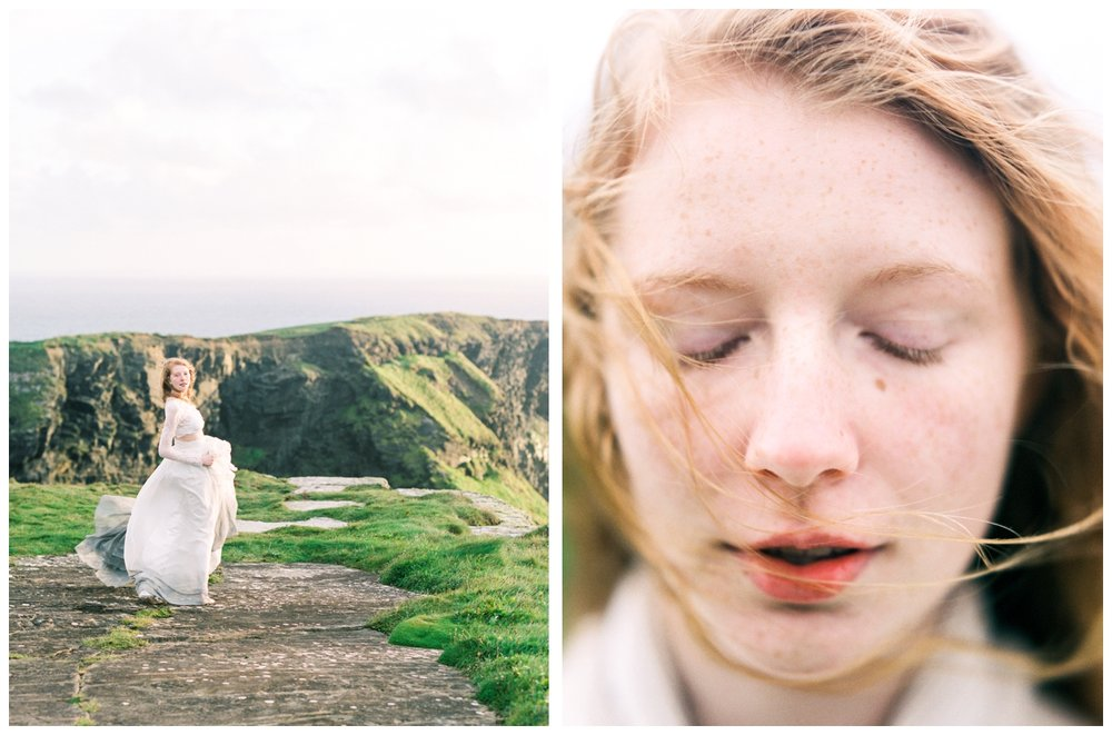 sunset bridal session at the cliffs of moher in ireland by fine art destination wedding photographer Lissa Ryan Photography