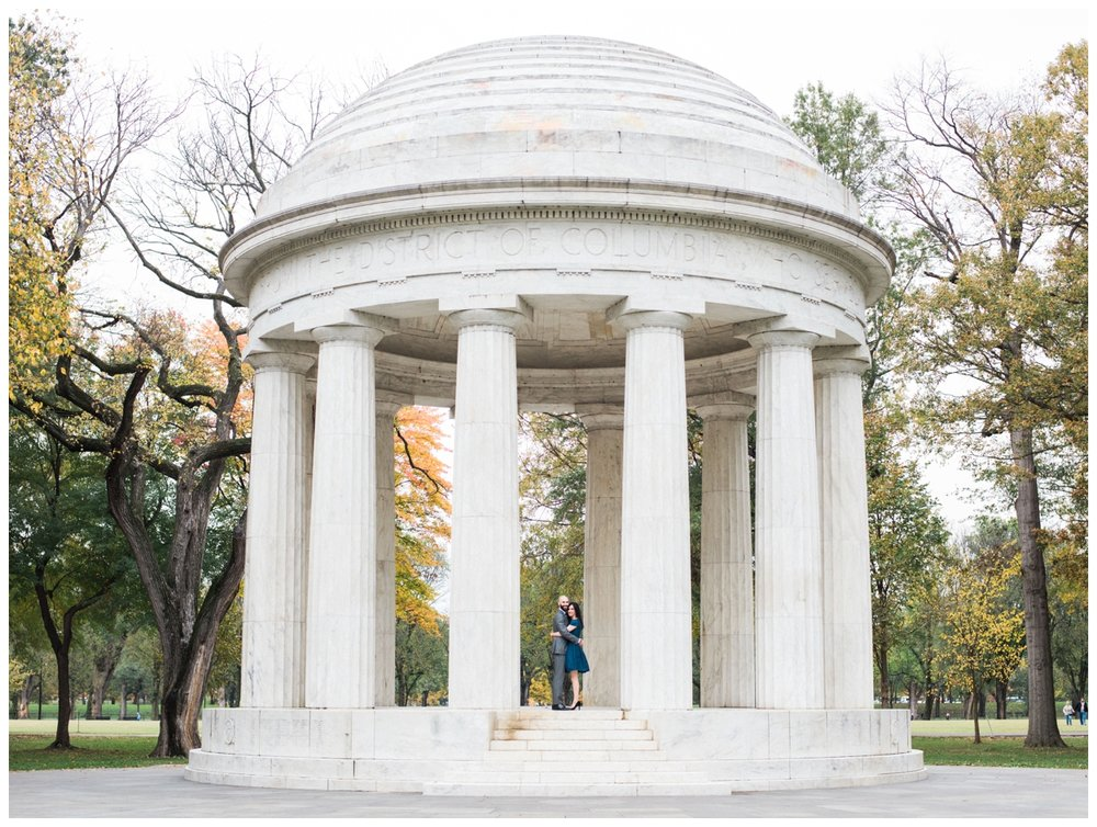 Elegant winter engagement session at DC War Memorial Washington DC by fine art wedding photographer Lissa Ryan Photography