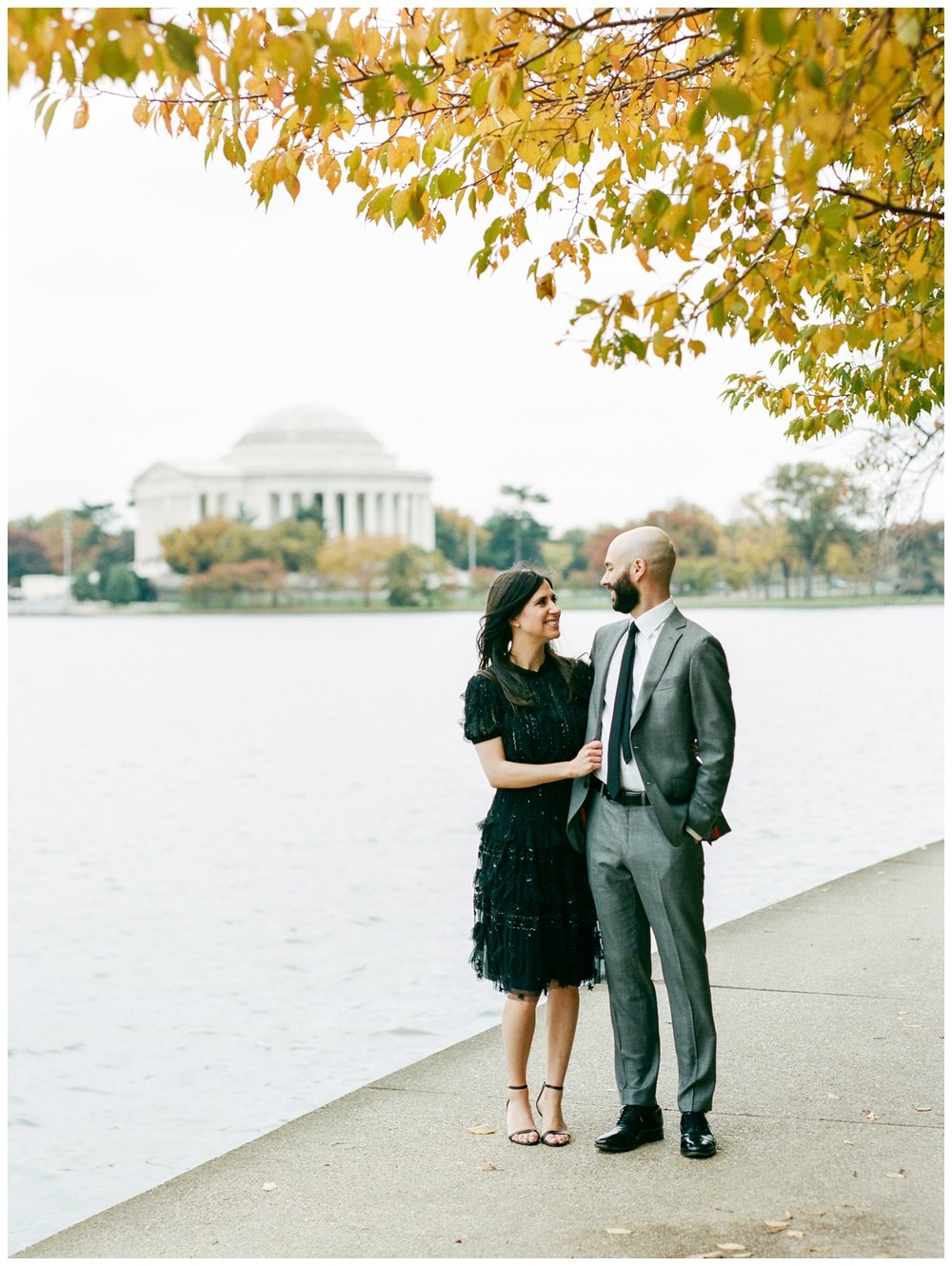 Elegant winter engagement session at the Jefferson Memorial Washington DC by fine art wedding photographer Lissa Ryan Photography