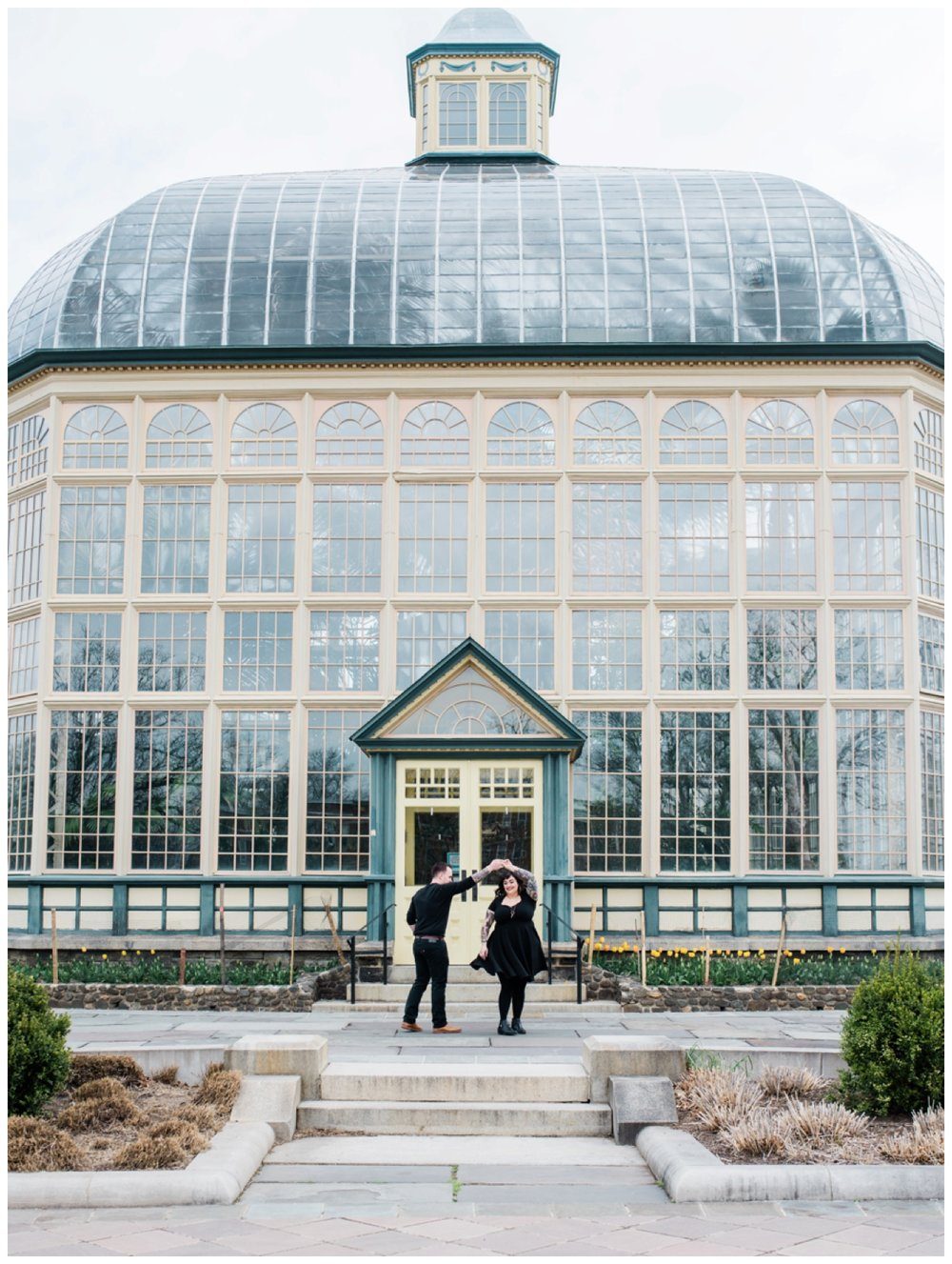 Spring engagement session in a greenhouse Rawlings Conservatory in Baltimore by Washington DC fine art wedding photographer Lissa Ryan Photography