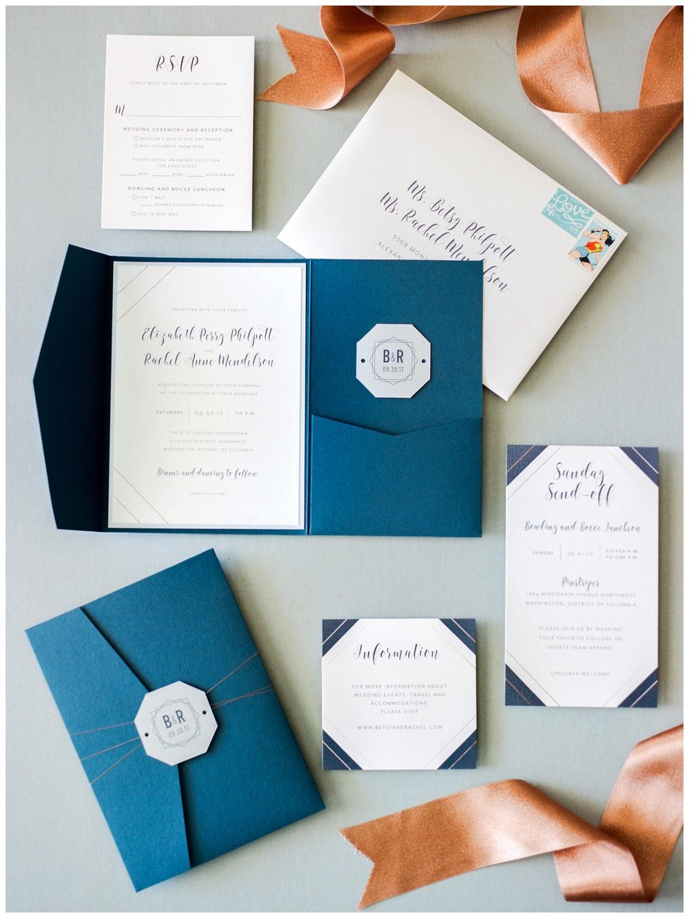 Navy & copper invitation suite from this Fall Industrial same-sex Wedding at the Ritz Carlton Georgetown in Washington DC by fine art wedding photographer Lissa Ryan Photography