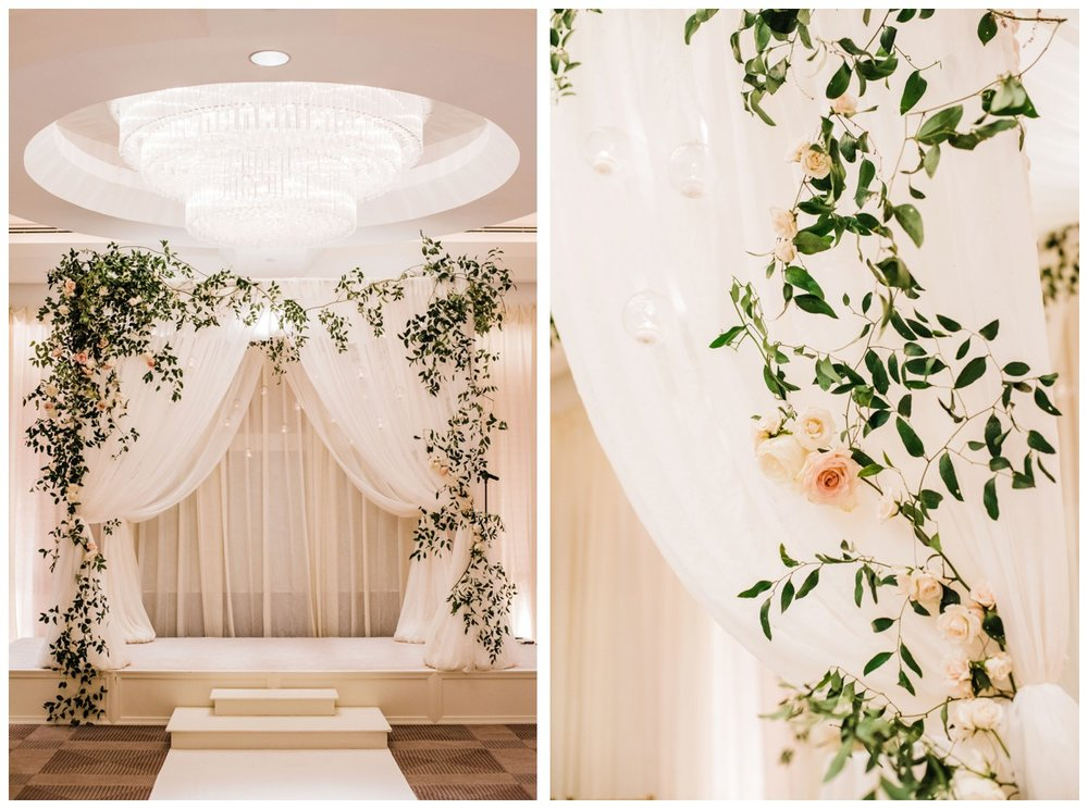 Spring Wedding in Shades of Pink at the Park Hyatt Washington DC by fine art wedding photographer Lissa ryan Photography draped huppah with smilax , roses and candles by Sweet Root Village