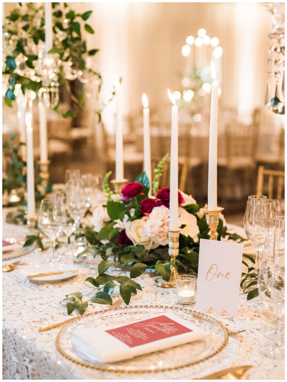 Spring Wedding in Shades of Pink at the Park Hyatt Washington DC by fine art wedding photographer Lissa Ryan Photography candlelit ballroom reception with lace linens