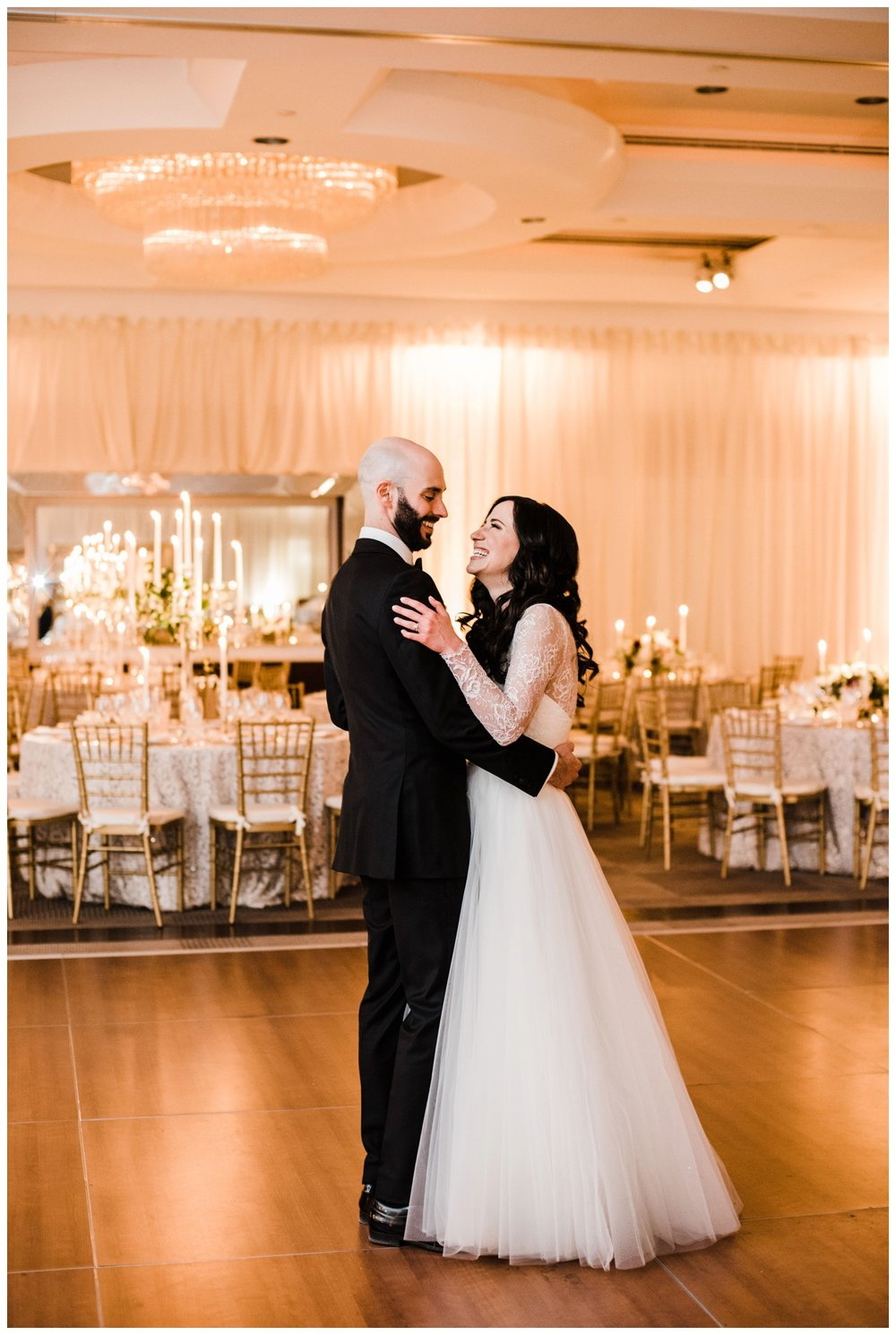 Spring Wedding in Shades of Pink at the Park Hyatt Washington DC by fine art wedding photographer Lissa Ryan Photography candlelit ballroom reception with lace linens practice first dance