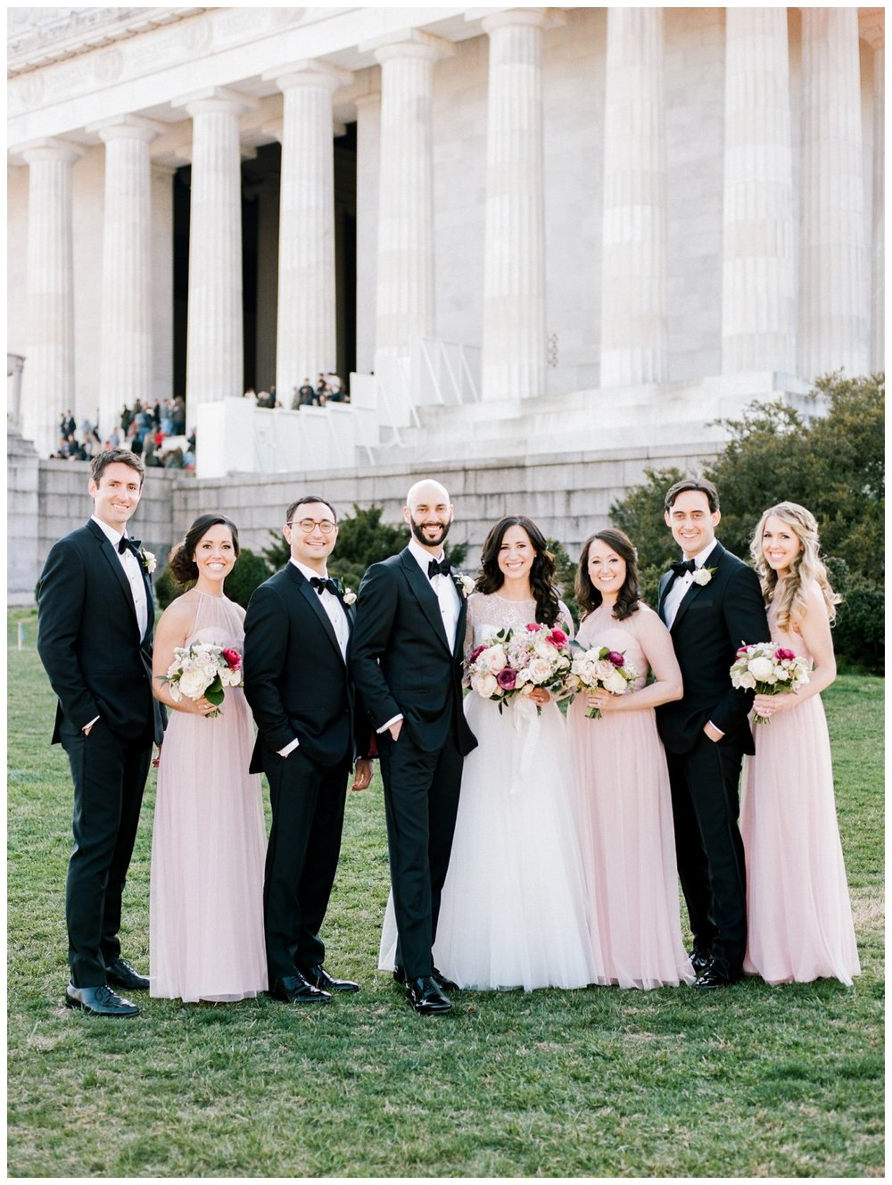 Spring Wedding in Shades of Pink at the Park Hyatt Washington DC by fine art wedding photographer Lissa Ryan Photography wedding party with Lincoln Memorial