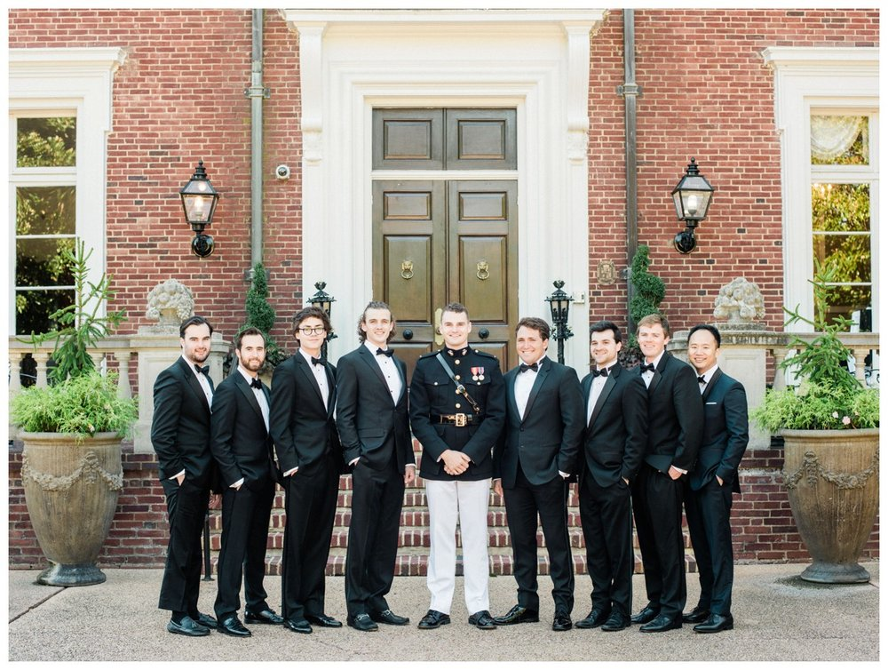 Sun drenched fall wedding in shades of pink at Oxon Hill Manor in Maryland military groom in uniform and groomsmen in tuxedos by fine art wedding photographer Lissa Ryan Photography