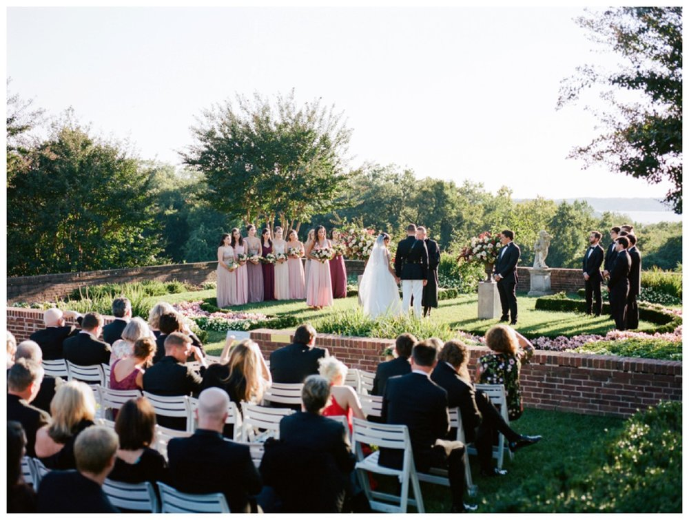 Sun drenched fall wedding in shades of pink at Oxon Hill Manor in Maryland wedding ceremony by fine art wedding photographer Lissa Ryan Photography