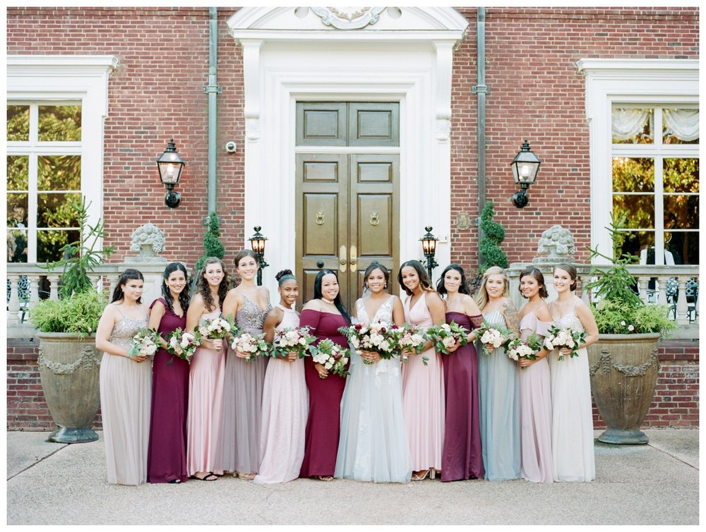 Sun drenched fall wedding in shades of pink at Oxon Hill Manor in Maryland bridal party bridesmaids by fine art wedding photographer Lissa Ryan Photography