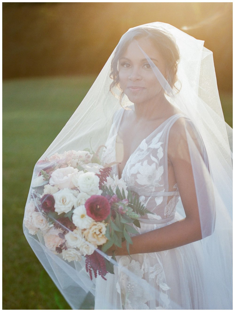 Sun drenched fall wedding in shades of pink at Oxon Hill Manor in Maryland sunset bridal portrait by Washington DC fine art photographer Lissa Ryan Photography