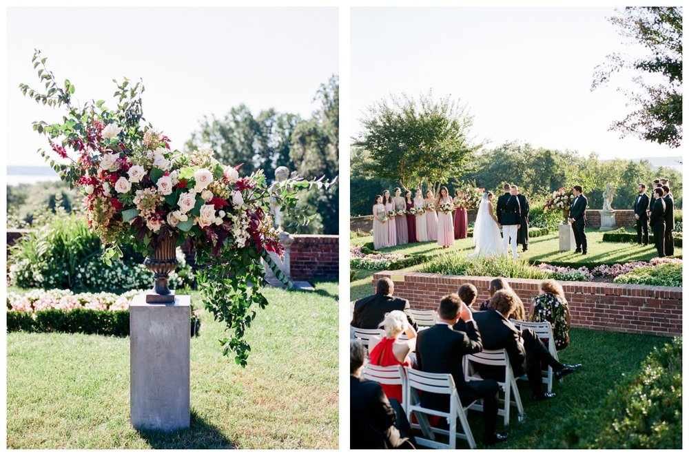 Sun drenched fall wedding in shades of pink at Oxon Hill Manor in Maryland outdoor ceremony by Washington DC fine art photographer Lissa Ryan Photography