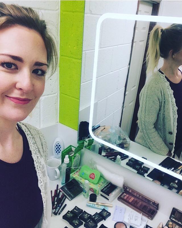 on set  selfie in the makeup room