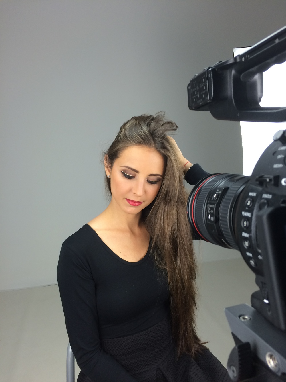 on set filming for cosmetics brand