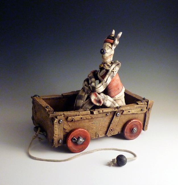"""Guy in a Cart / 12""""H x 14""""W x 6""""D / 2012"""