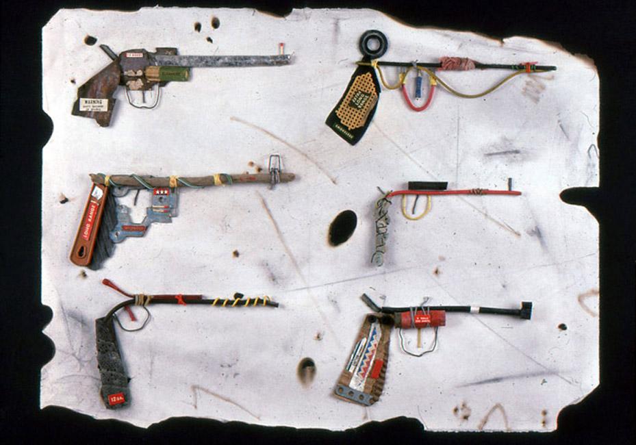 """Six Guns / 22""""H x 30""""W / 1985"""