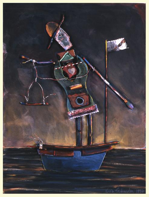 """Guy in a Boat #2 / 24""""H x 18""""W /1996"""