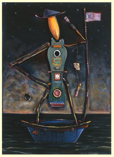 """Guy in a Boat #4 / 30""""H x 24""""W / 1996"""