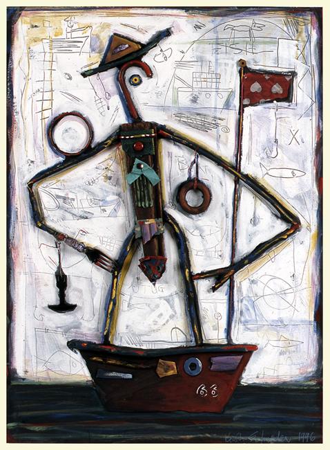 """Guy in a Boat #5 / 30""""H x 22""""W / 1996"""