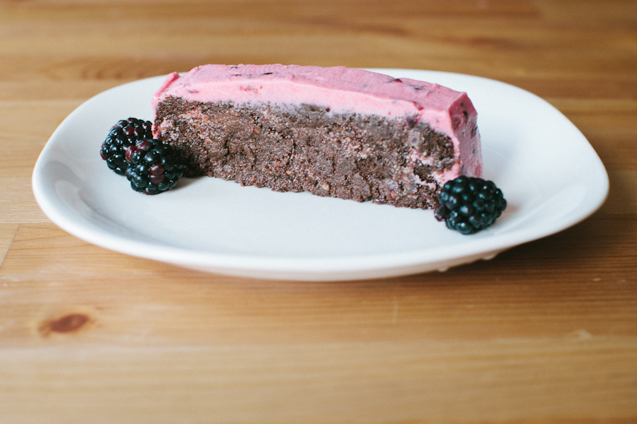 Flourless Chocolate Cake with Blackberry Buttercream Frosting