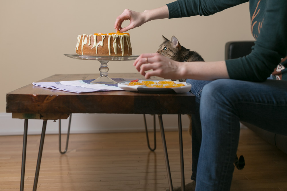 "Chief Distraction Officer Lolli the cat ""helps"" me decorate 