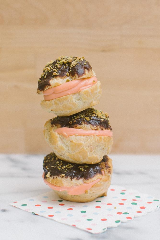 Rose Cream Puffs with Chocolate Pistachio Ganache | Becca Bakes (www.becca-bakes.com)