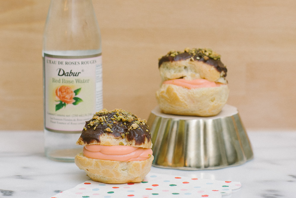 Rose Cream Puffs with Chocolate Pistachio Ganache | Becca Bakes (www.becca-bakes.com)