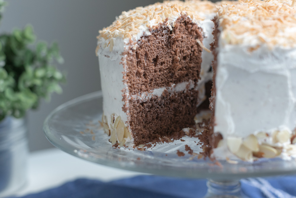 Chocolate Coconut Chiffon Cake | Becca Bakes (www.becca-bakes.com)