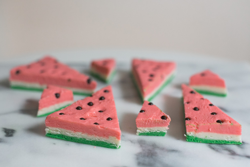 "White Chocolate ""Watermelon"" Fudge 