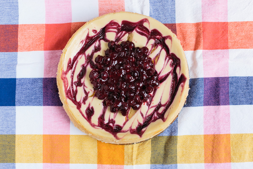Lemon Cheesecake + Blueberry-Rose Swirl | Beca Bakes (www.becca-bakes.com)