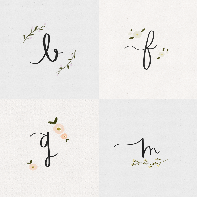 Currently working on monogram lettering. Click Portfolio --> Lettering for more. Stay tuned for N-Z!