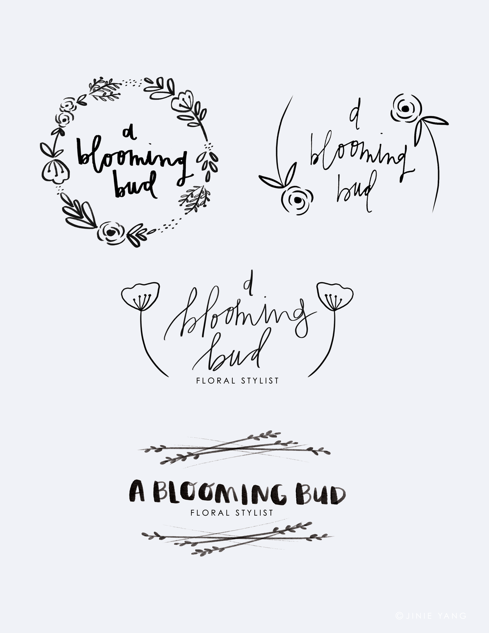 Allie from   A Blooming Bud   requested a logo a while ago and this is what my process looked like. I had a blast working with her! Super sweet girl and so enthusiastic about her work. And her florals are stunning. Be sure to check her out!