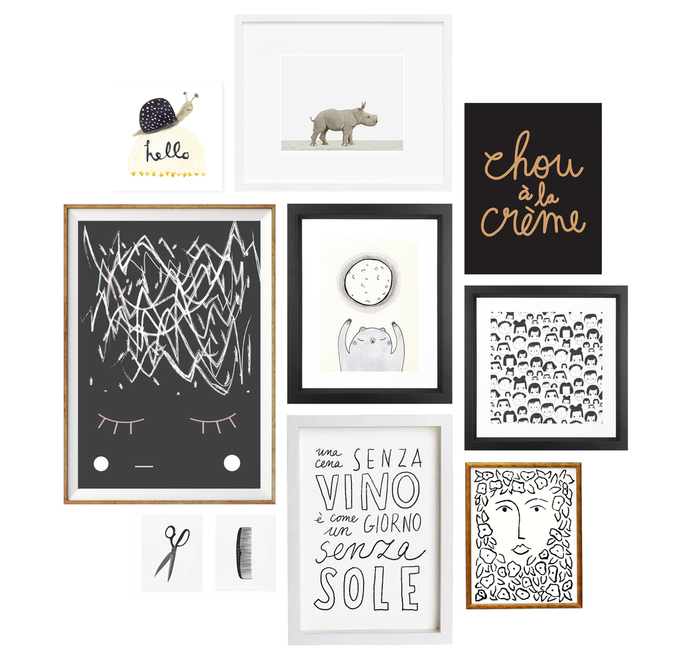 hello snail by in my back yard / abstract nursery art print by alphonnsine / scissors and comb by rifle paper co. / baby rhino by the animal print shop / moon bear by rubyetc / vino by anek / chou à la créme by nice day paper / little faces in black and white by zoe ingram / fleur femme by wayne pate