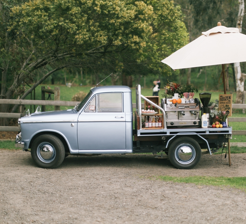 Little Blue Coffee Cart A beautiful addition to the Farm Cafe's catering service - a 1963 Datsun ute, refitted as a coffee cart.