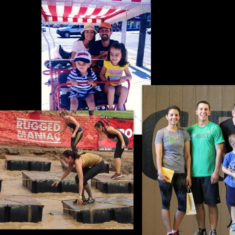 (clockwise from top) Ana with her husband, Michael, and two children, Michael & Naya; Ana with her partner, Cubby, as they won second place in their first ever competition; Ana conquering fears and kicking butt at her first Rugged Maniac mud race this summer.