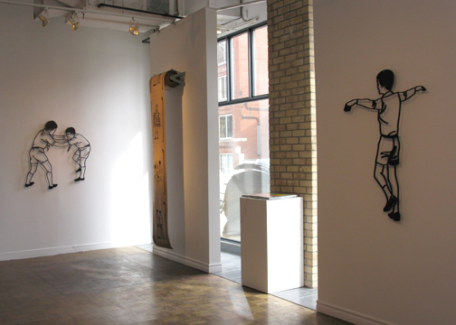 one continuos mistake .Daryl Vocat. Installation view, cut aluminum &screen printed roll