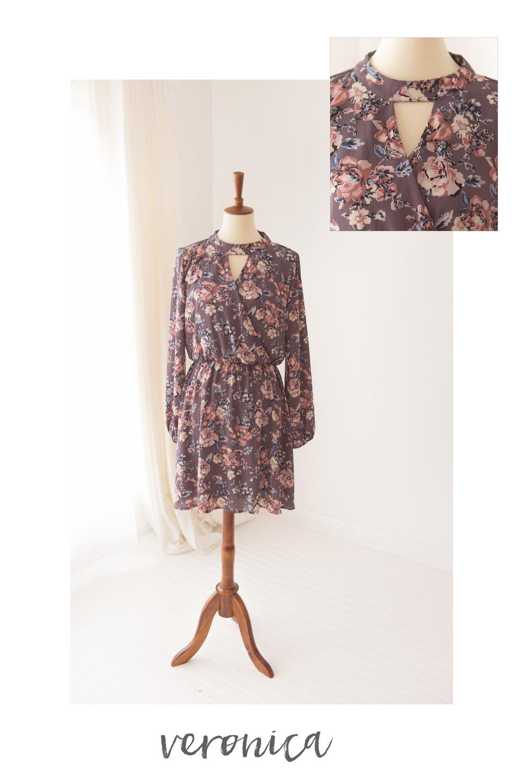 purple floral dress veronica