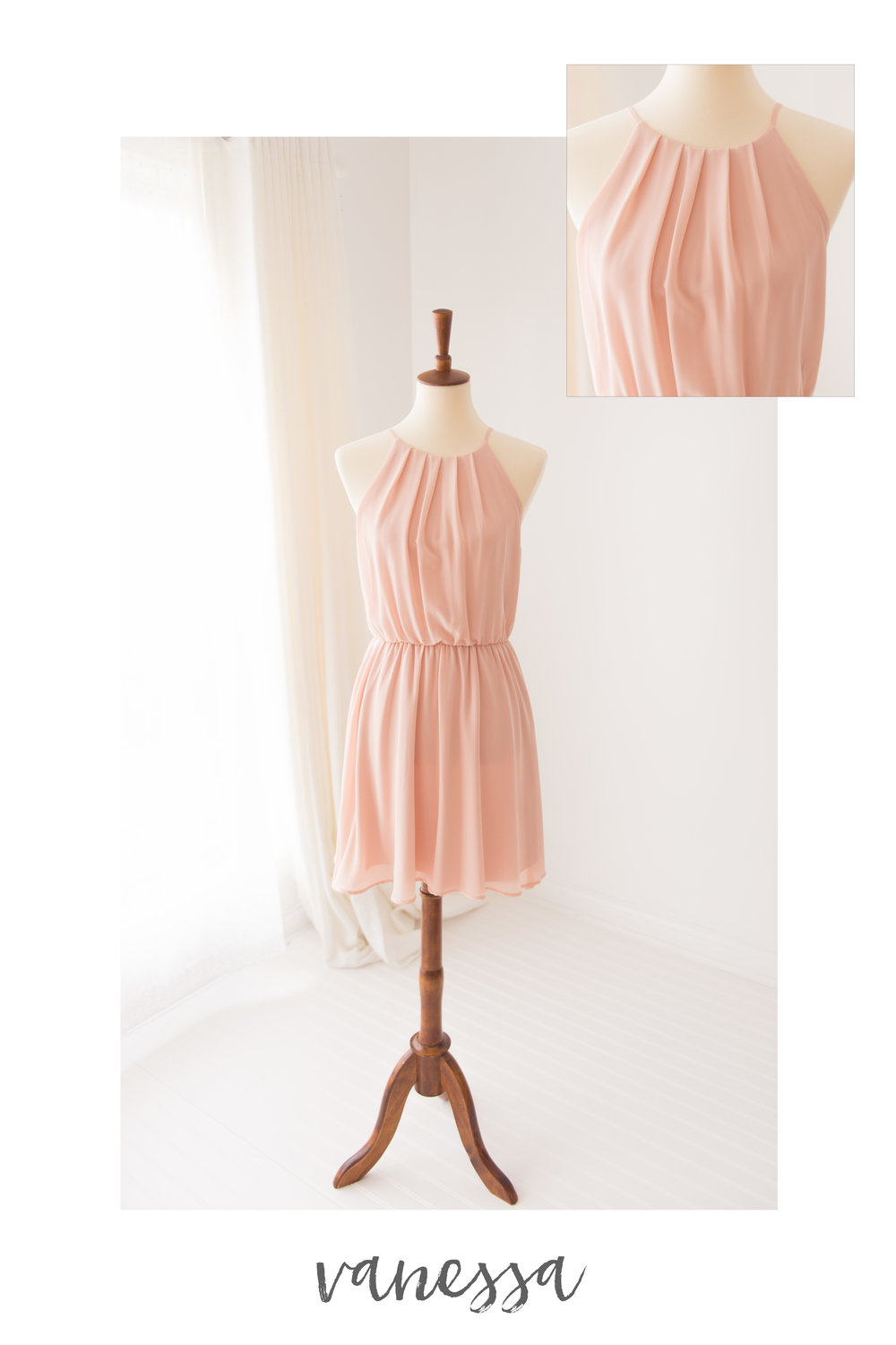 peachy pink sleeveless dress vanessa