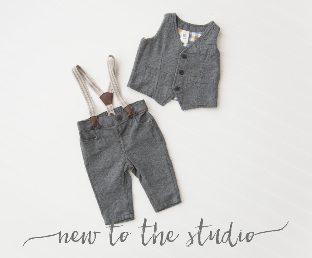 what to wear for photos boys gray suspender pants and vest