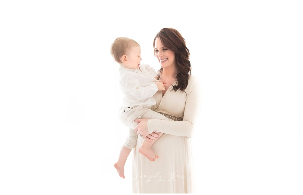 mother and son white studio