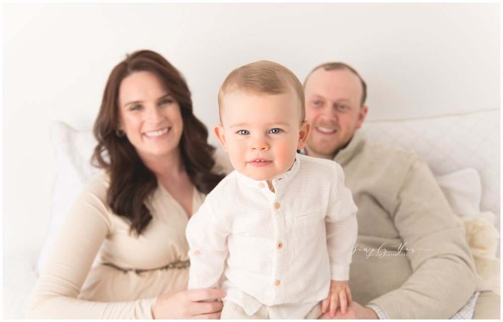 little boy 2 years old maternity photos with family