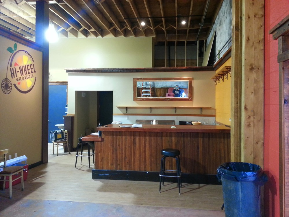 The taproom is coming together. Checkout that nifty mirror over the bar - it's actually an antique door with a fabulous mirror in it.