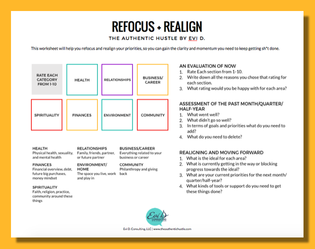 Refocus and Realign Worksheet Evi D.