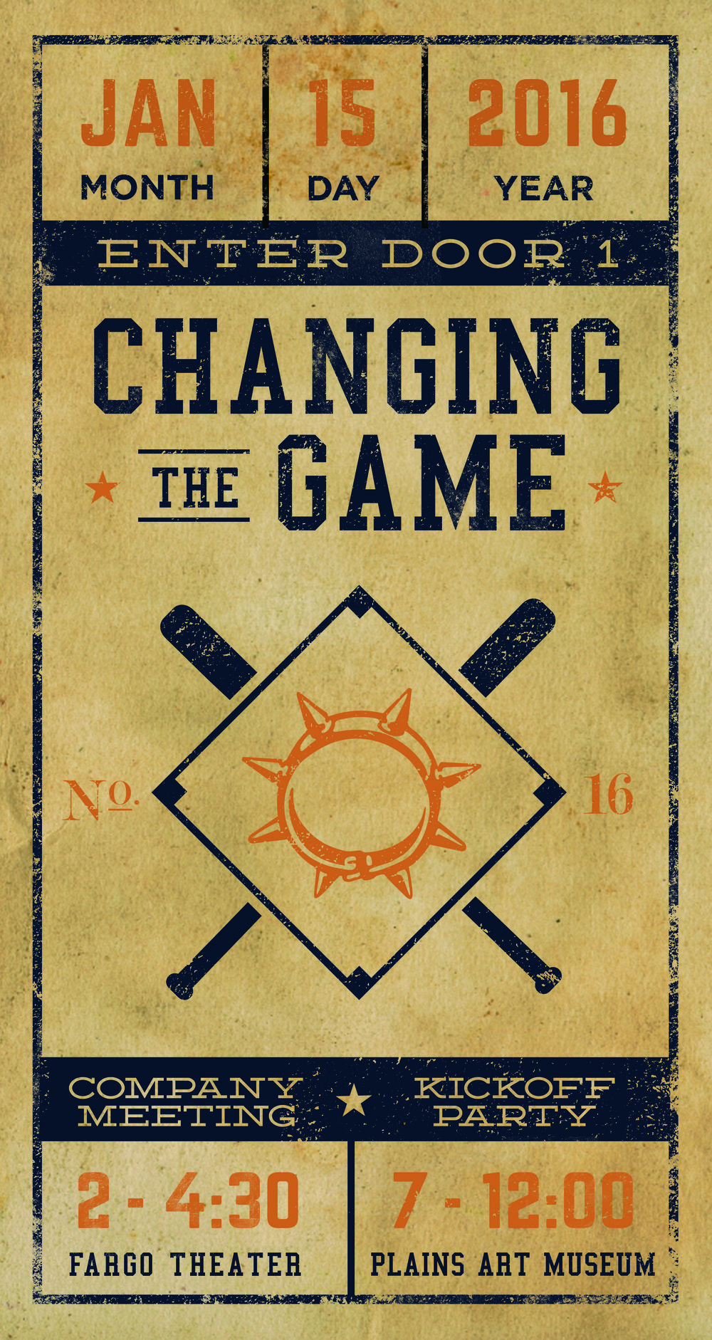 Sundog's 2016 Kickoff Party was baseball themed, so I created posters and accompanying materials with the look and feel of vintage baseball tickets.