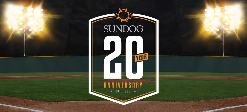 Sundog celebrated its 20th Anniversary in the summer of 2016. I created a badge that was used on promotional materials for an anniversary party held at Newman Outdoor Stadium.
