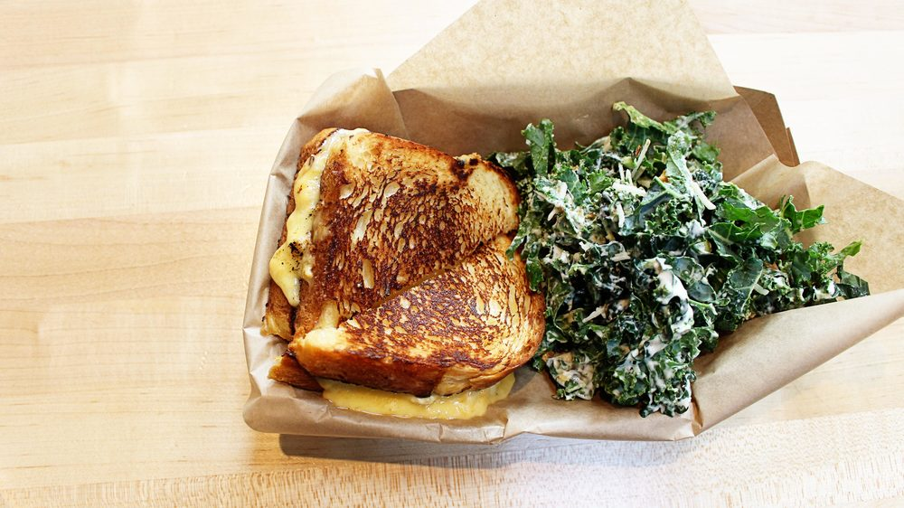 Grilled Cheese & Kale Caesar Salad