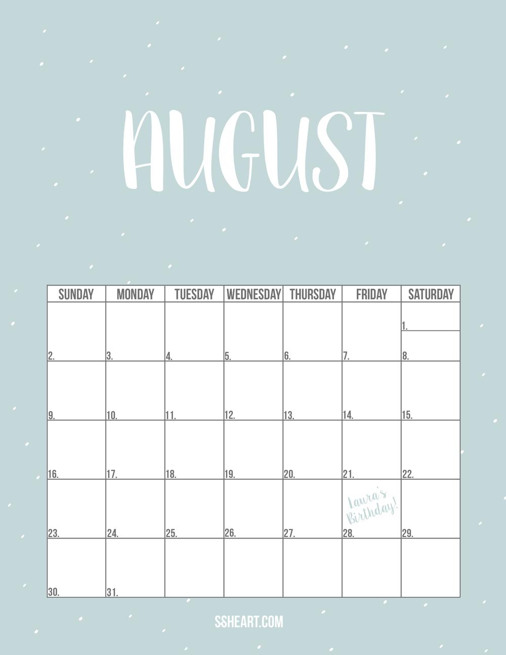 Free Printable August Calendar!
