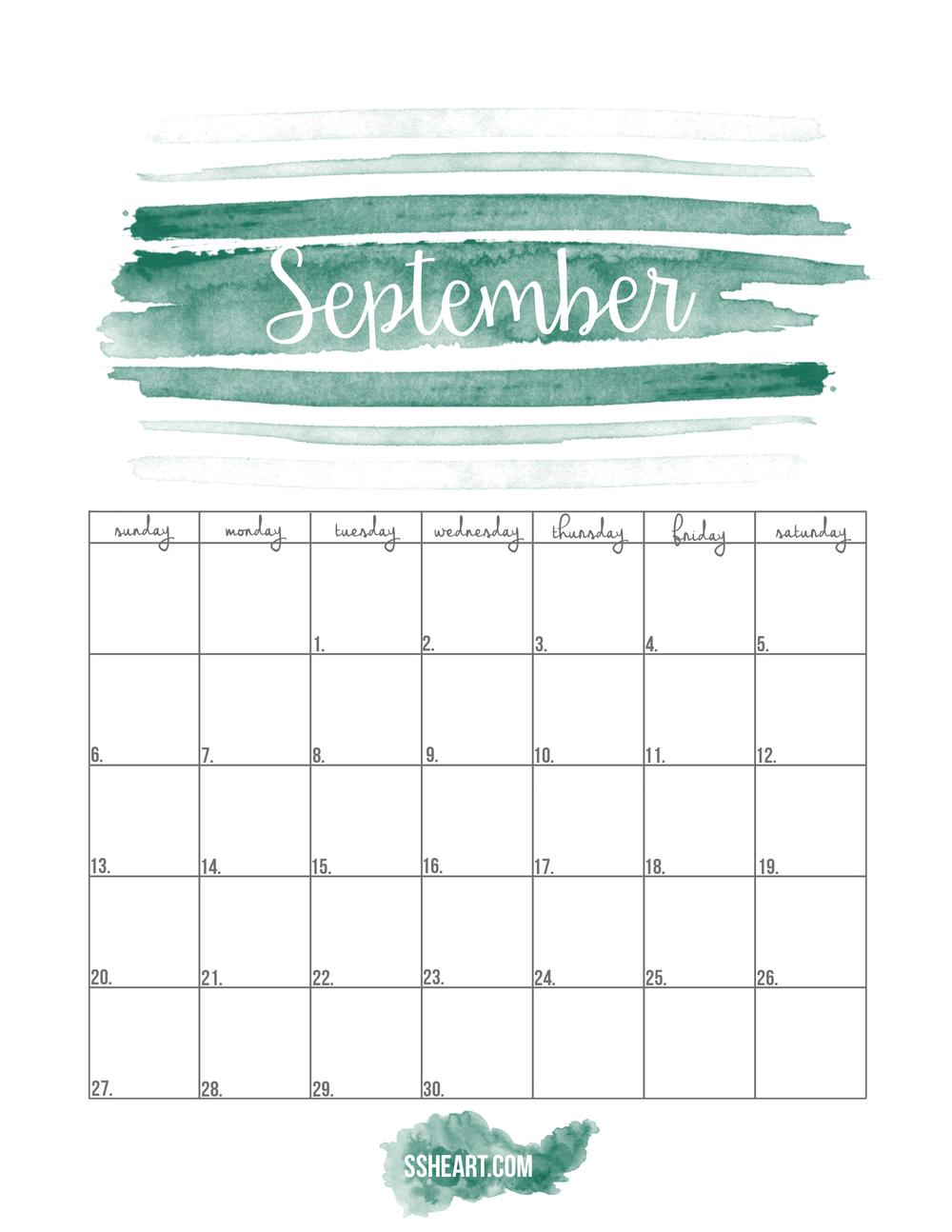 Free Printable September Calendar