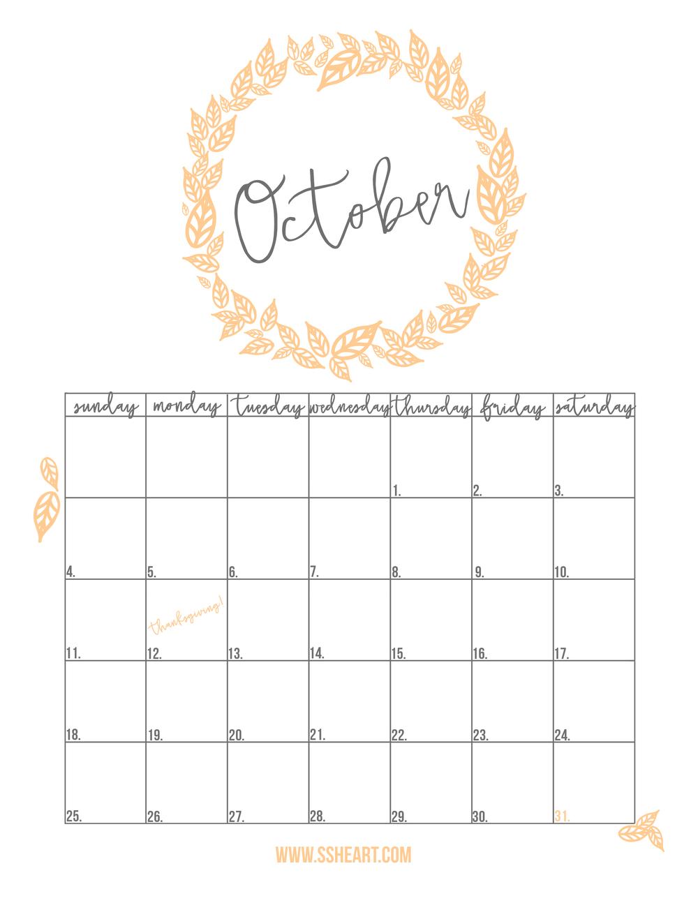 Free Printable October Calendar