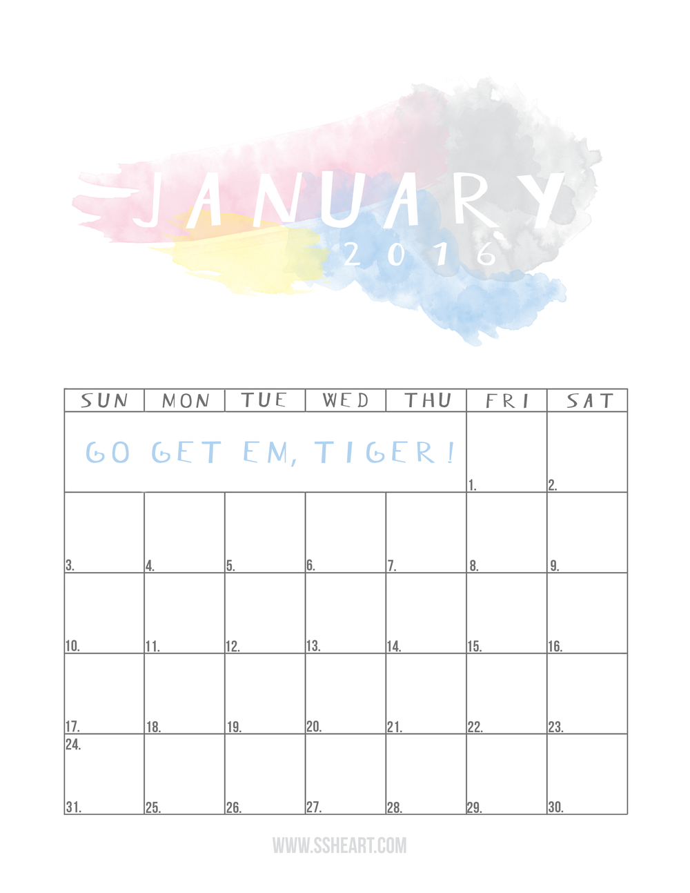 Time to make your dreams into plans with this free printable January 2016 Calendar!